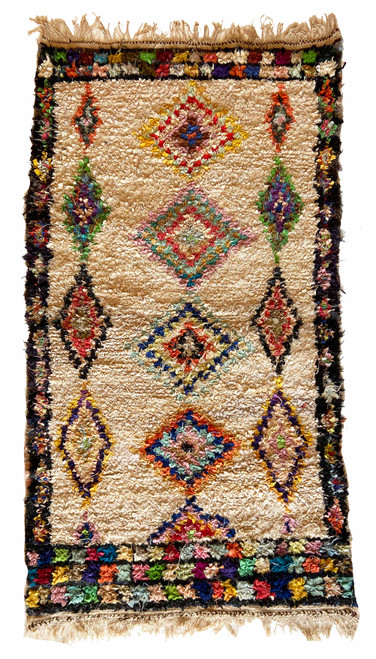 "Handwoven And Hand Knotted Vintage Pile Tribal Boucherouite Rug  Morocco (40""x 74"") creams in field with edging in navy and blacks, gold, purple, blue, papaya, pale copper, rose, citron, pale turquoise, grass green"