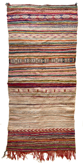 "Handwoven  Vintage Tribal Boucherouite Flat Weave Rug 26 Morocco (46""x 104"") creams, rose, olive, papaya, teal, grey, charcoal, robins egg blue"