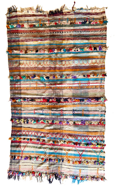 "Handwoven  Vintage Tribal Boucherouite Flat Weave Rug  Morocco (55""x 90"") Medley of pastel colors"