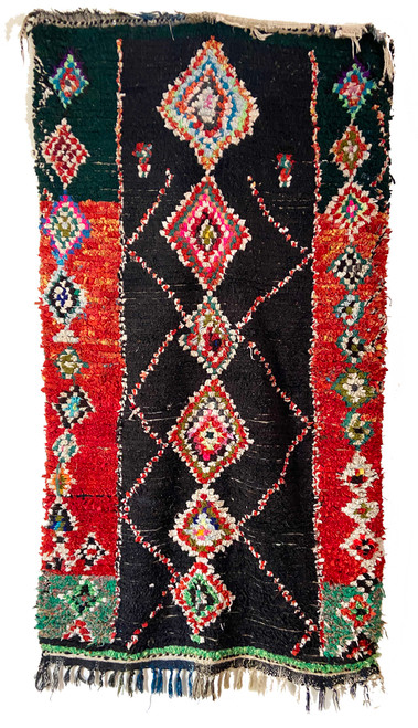 "Handwoven And Hand Knotted Vintage Pile Tribal Boucherouite Rug  Morocco (37""x 64"") dark brown, deep red, beige, orange, kelly green, olive, forest green, black turquoise, royal blue"