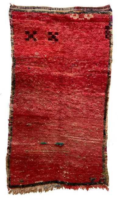 "Handwoven And Hand Knotted Vintage Tribal Boujaad Wool Rug 23 Morocco (39""x 60"") Dusty red and brown"