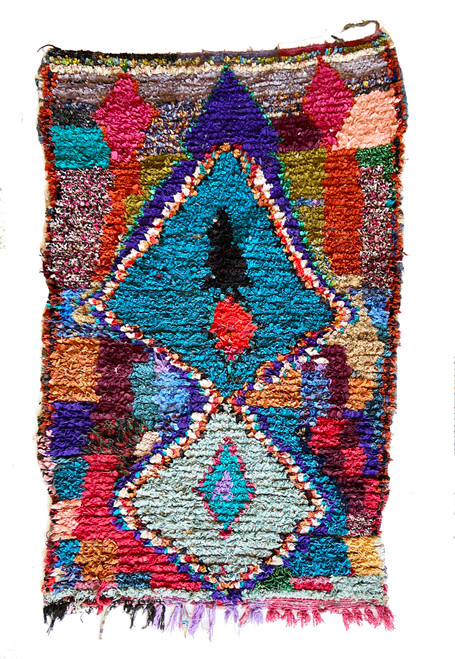 """Handwoven And Hand Knotted Vintage Pile Tribal Boucherouite Rug  35 Morocco (43""""x 69"""") hot pink, red, burgundy, mint green, red brown, soft pink, copper, cream"""