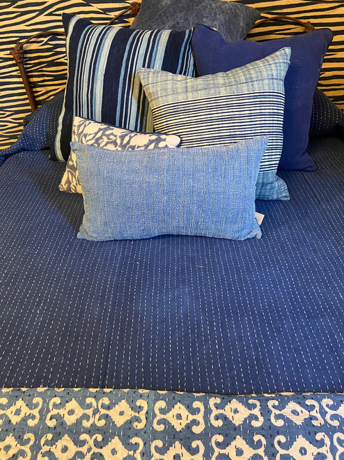 "Handmade Hand Stitched Indigo Quilt Queen India  (85"" x 104"") indigo blue white stitching"