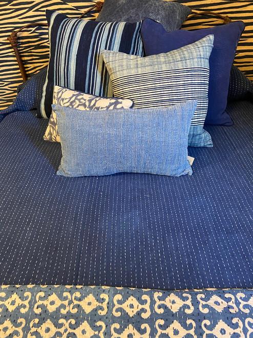 """Handmade Hand Stitched Indigo Quilt Queen India  (84"""" x 103"""") indigo blue white stitching"""