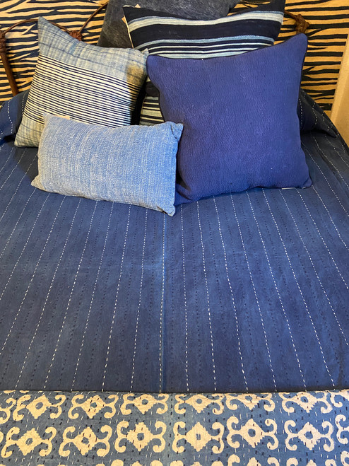 "Handmade Hand Stitched Indigo 4 Quilt Queen India  (86"" x 104"") Medium dark indigo blue with rows of white and dark navy running stitches"