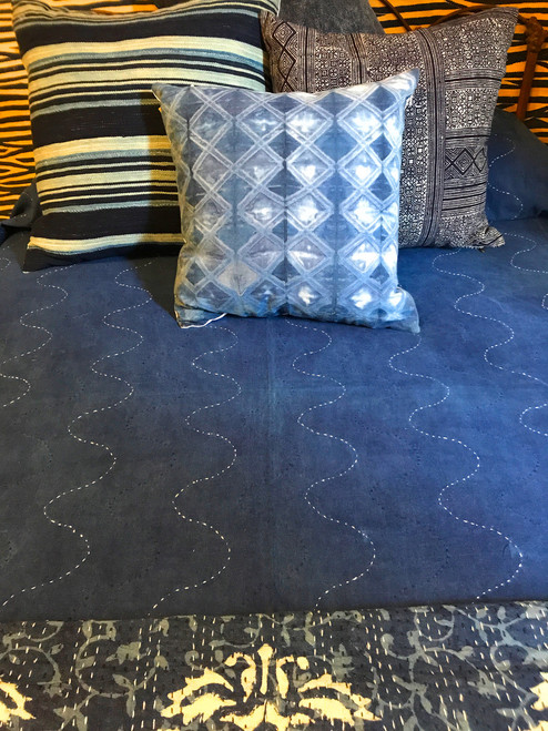 "Handmade Hand Stitched Indigo 4 Quilt Queen India  (86"" x 106"") Medium dark indigo blue and cream"
