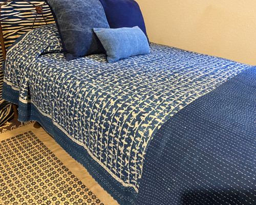 "Handmade Hand Stitched Block Printed Quilt Queen India  (86"" x 106"")  Medium indigo blue and cream print; greyed navy"