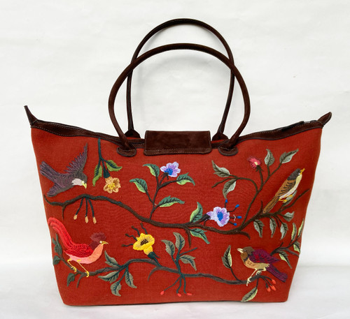 Handwoven Embroidered Rust Santiago Satchel Tote Guatemala Brown Suede embroidery blue green rose