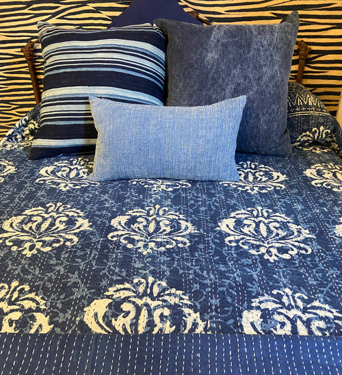 "Handmade Hand Stitched Block Printed Quilt Queen India  (84"" x 106"")  Medium indigo blue and cream print; greyed navy"