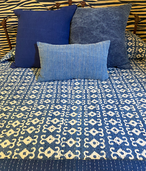 "Handmade Hand Stitched Block Printed Quilt Queen India  (87"" x 105"")  Medium indigo blue and cream print; greyed navy"