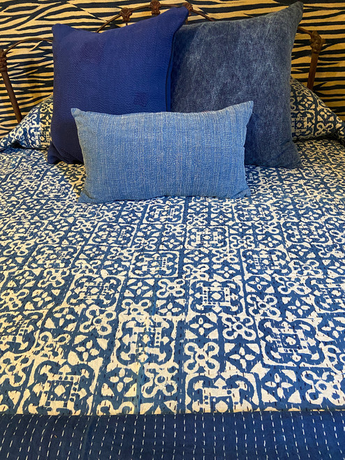 "Handmade Hand Stitched Block Printed Quilt Queen India  (89"" x 106"")  Medium indigo blue and cream print; greyed navy"