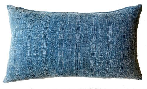 """Hand Printed Indigo Dyed Cotton Pillow Thailand (11"""" x 19"""") light indigo and white"""