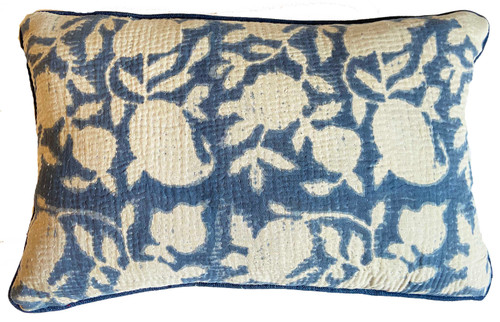 "Hand Printed and Stitched Cotton Pillow India (11"" x 19"") blues"