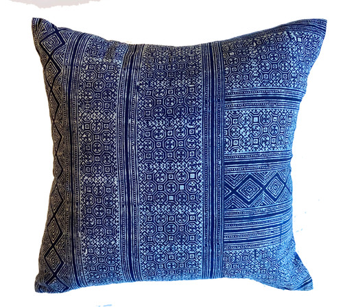 "Printed Blue and White Hmong Design Cotton Pillow Thailand (18"" x 18"")"
