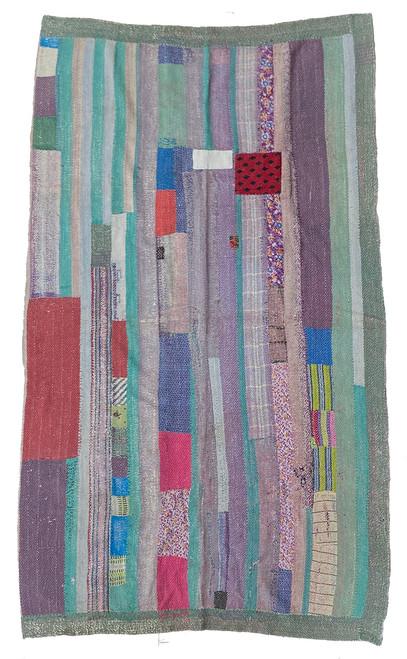 """Kantha Quilt Hand Stitched Vintage Sari 46 India (54"""" x 88"""")"""