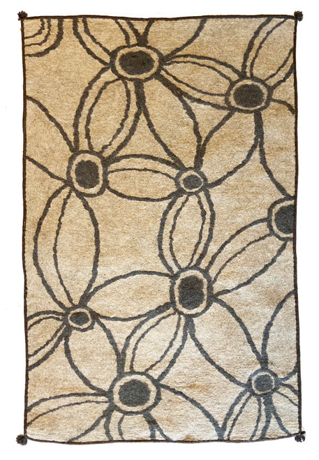 "Handmade Wool Felt Rug Floral Afghanistan (48"" x 72"") charcoal on heathered beige"