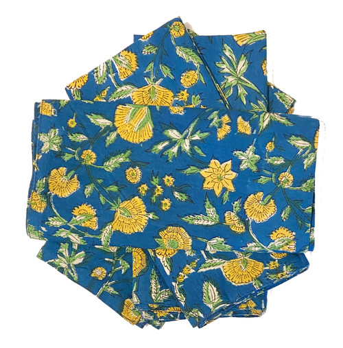 Hand Block Printed Natural Dyed Napkins 2 India Set of 4 colbalt blue, sunflower yellow, green and white