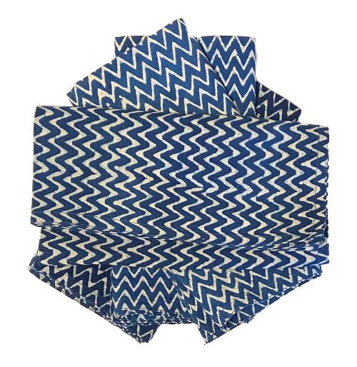 Hand Block Printed Natural Dyed Napkins Zig Zag India Set of 4 indigo blue and white