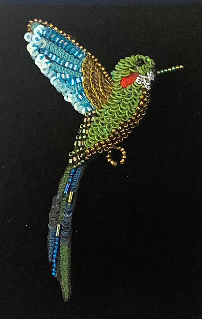 "Handmade Embroidered Beaded Tropical Hummingbird Brooch (2"" x 3.5"") beads embroidery sequins thread"