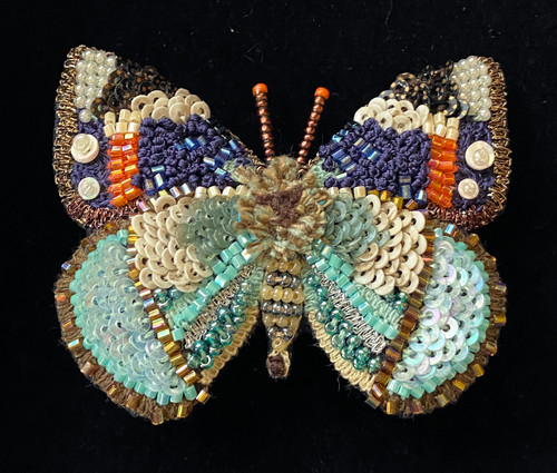 """Handmade Embroidered Beaded Emperor Butterfly 2 Brooch India (2.25"""" x 2.75"""")beads embroidery sequins thread"""