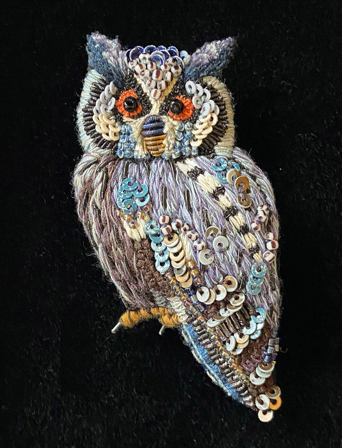 """Handmade Embroidered Beaded Southern White Faced Owl Brooch India (1.5"""" x 2.5"""")"""