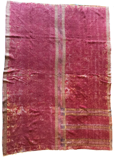 "Kantha Quilt Hand Stitched Vintage Sari 41 India (63"" x 84"") maroon patina cotton fabric"