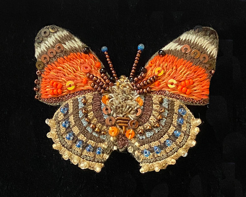 """Handmade Embroidered Beaded Claudina Orange Butterfly  Brooch India (1.75"""" x 2"""") beads embroidery sequins thread"""