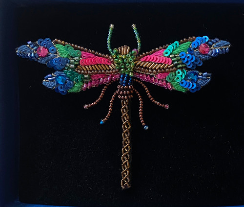 "Handmade Embroidered Beaded Dragonfly Brooch India (2.5"" x 3.25"") sequins beads embroidery very fine"