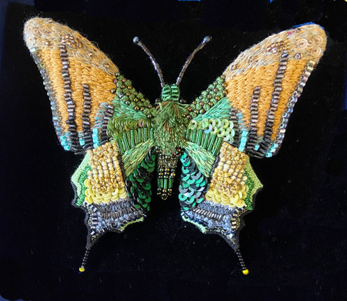 """Handmade Embroidered Beaded Emperor of India Butterfly  Brooch India (3"""" x 3.5"""") sequins beads embroidery"""