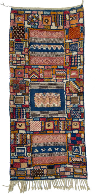 "Handwoven  Glaoui Tapestry Pile Wool Rug  Morocco (26"" x 63"")  indigo blue, saffron, khaki, camel, dusty brick, deep red, dark brown, natural white"