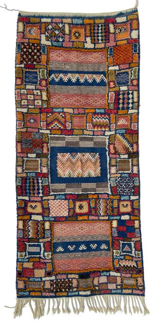 "Handwoven  Glaoui Tapestry Pile Wool Rug  Morocco (26"" x 63"")  indigo blue, saffron, khaki, camel, dusty brick, deep red, dark brown, natural white"