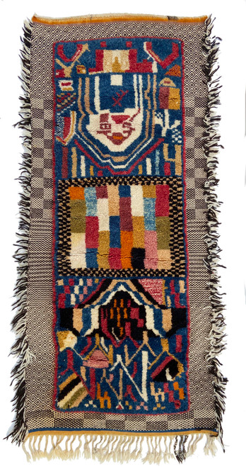 "Handwoven Tapestry Pile Wool Rug  Morocco (31"" x 70"") handspun wool hand knotted pile,  dusty rose, saffron, mustard, cream, pale peach, indigo blue, chalky brick, faded red, camel, olive and black"