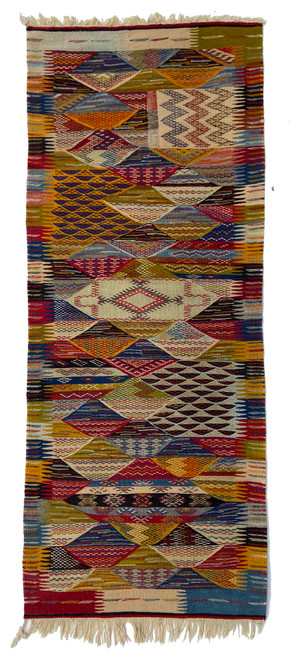 Handwoven Map Tapestry Wool Rug Morocco 26 x 63 ipleasing medley of indigo, olive, saffron, red, medium blue, gold, grey, mustard, pinkish cream, black, pale sage
