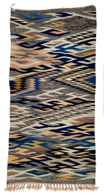 Handwoven Map Tapestry Wool Rug Morocco 26 x 63 indigo blue, camel, red, charcoal, bright mustard, oatmeal, pale gold, medium indigo blue, pale sage, pale camel, natural grey fleece, dark chocolate brown