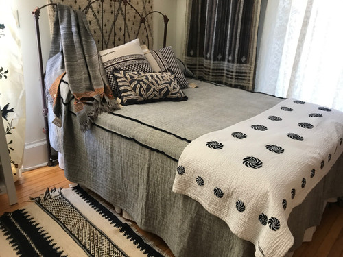 """Handwoven Natural Dyed Organic Cotton Charcoal Coverlet (96"""" x 100"""")"""
