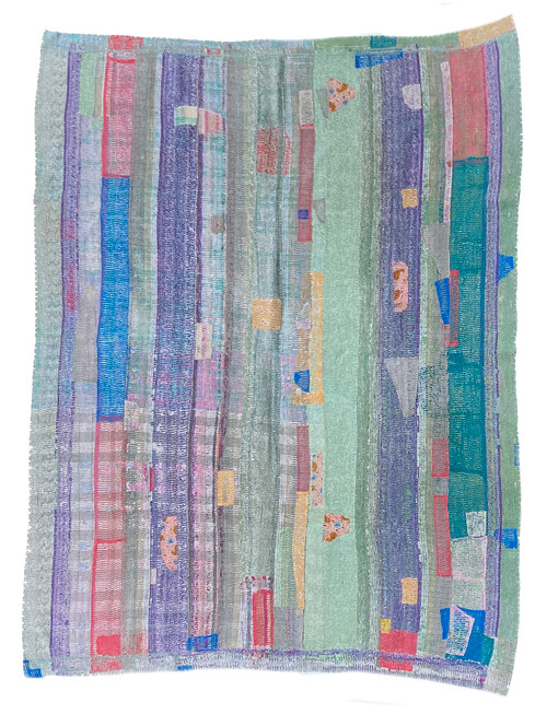 "Kantha Quilt Hand Stitched Vintage Sari 42 India (59"" x 75"")  dusty sage, blue teal, purple, chalky raspberry washed peach and more. Side B muted sky blue, purple"