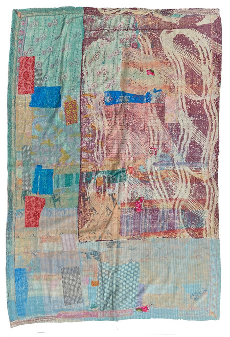 "Kantha Quilt Hand Stitched Vintage Sari 43 India (58"" x 84"") greyed bug print with dark cream, teal green, bright blue, tones of grey, dusty rose, powdered peach and more. Side B: teal green, pale turquoise, tan, greyed powder blue"