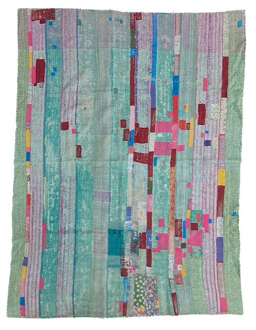 "Kantha Quilt Hand Stitched Vintage Sari 45 India (51"" x 68"") teal blue green, greyed sage, accents in deep red, bright pink, gold, bright blue and more. Side B: a medley of greyed purple, sage, raspberry pink with a patina of greyed lower layers showing through"
