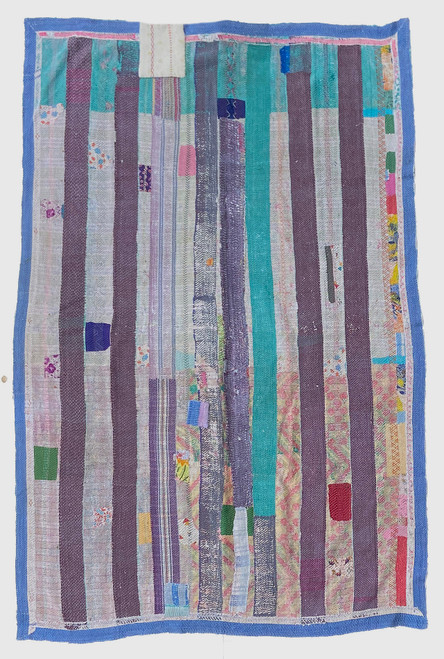 "Kantha Quilt Hand Stitched Vintage Sari 48 India (57"" x 83"") robin's egg turquoise, grey- purple, periwinkle blue border, grey and accents. Side B: patina of many layers of fabric in teal, turquoise, raspberry pinks and purples"