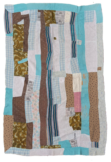 "Kantha Quilt Hand Stitched Vintage Sari 49 India (58"" x 86"") robin egg turquoise, café au lait brown, bear brown, muted greys, pink and more. Side B: mink green, dark grey, raspberry red, and more"