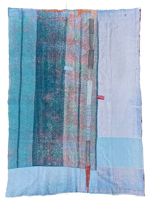 """Kantha Quilt Hand Stitched Vintage Sari 50 India (60"""" x 85"""") patina of use revealing subsequent layers of pale robins egg blue, turquoise, dark teal, washed pale blue grey and more. Side B: bright magenta, black, purple- grey, robins egg blue, raspberry pink, washed pale pink and more"""