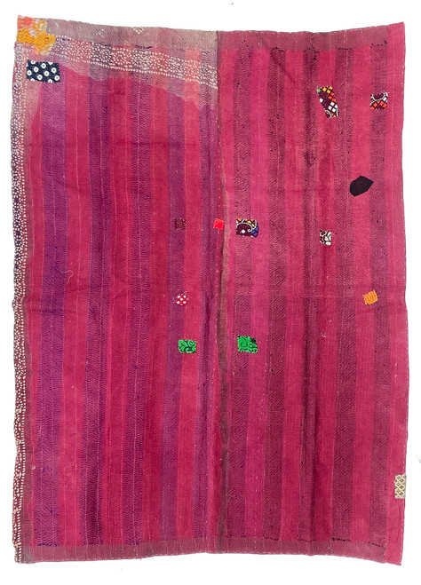 "Kantha Quilt Hand Stitched Vintage Sari 51 India (55"" x 74"") rich red with various stitched colors in black, hot pink, royal blue causing the fabric to appear as different reds. Side B: tan with embroidered diamonds in royal blue, pine, bright pink, bright red"