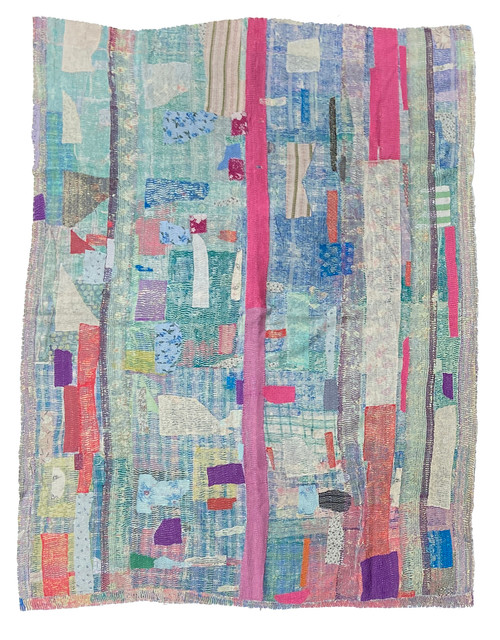 "Kantha Quilt Hand Stitched Vintage Sari 52 India (63"" x 81"") medley of pinks, turquoises, teals with accents in sky blue, purple and bright papaya. Side B: plaid in pale butter yellow, dusty peachy pink, and sky blue."