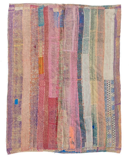 "Kantha Quilt Hand Stitched Vintage Sari 54 India (59"" x 80"") muted tones of peach, teal, red, pine, purple and more. Side B: bright marine blue, faded peach, washed greys and more"
