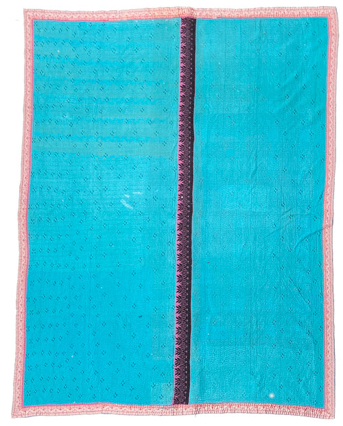 "Kantha Quilt Hand Stitched Vintage Sari 53 India (68"" x 85"") mellow bright turquoise with black stitching. Side B: marine blue with turquoise."