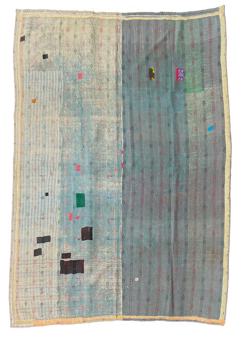 """Kantha Quilt Hand Stitched Vintage Sari 55 India (61"""" x 85"""") battleship grey- green, washed pale yellows, patina of teal blue grey and more. Side B: sage, robins egg blue, café au lait brown, grey green and more"""