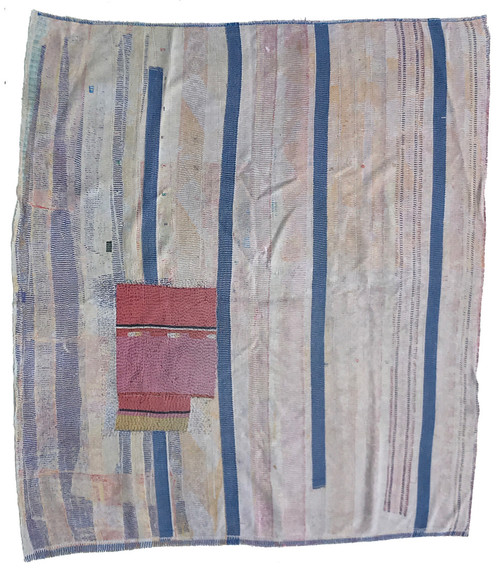 """Kantha Quilt Hand Stitched Vintage Sari 57 India (65"""" x 71"""") patina colors neutrals and blues"""