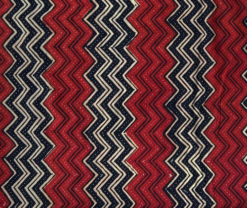 Hand Block Printed and Stitched  Natural Dyed Cotton Fabric E India  Red Black White