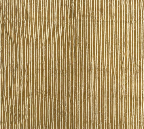 Hand Block Printed and Stitched  Natural Dyed Cotton Fabric D India  Dark Wheat and White Stripes White Circles
