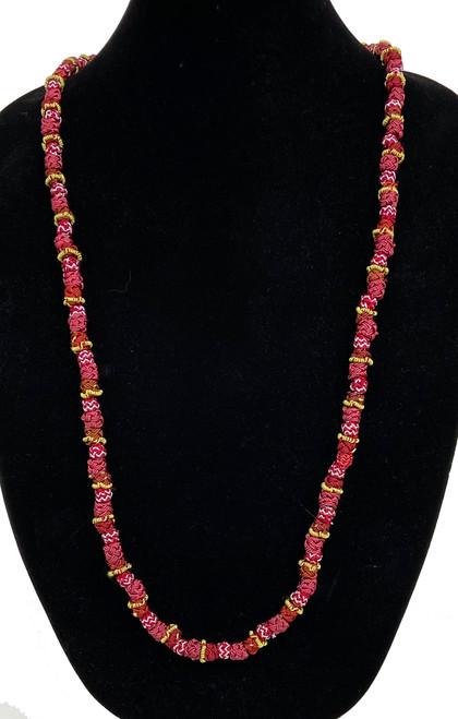 "Hand Knotted Button Bead Long Necklace B Morocco (20"" drop)  red, rose, red brown, dusty rose, with accents in lime and silver"